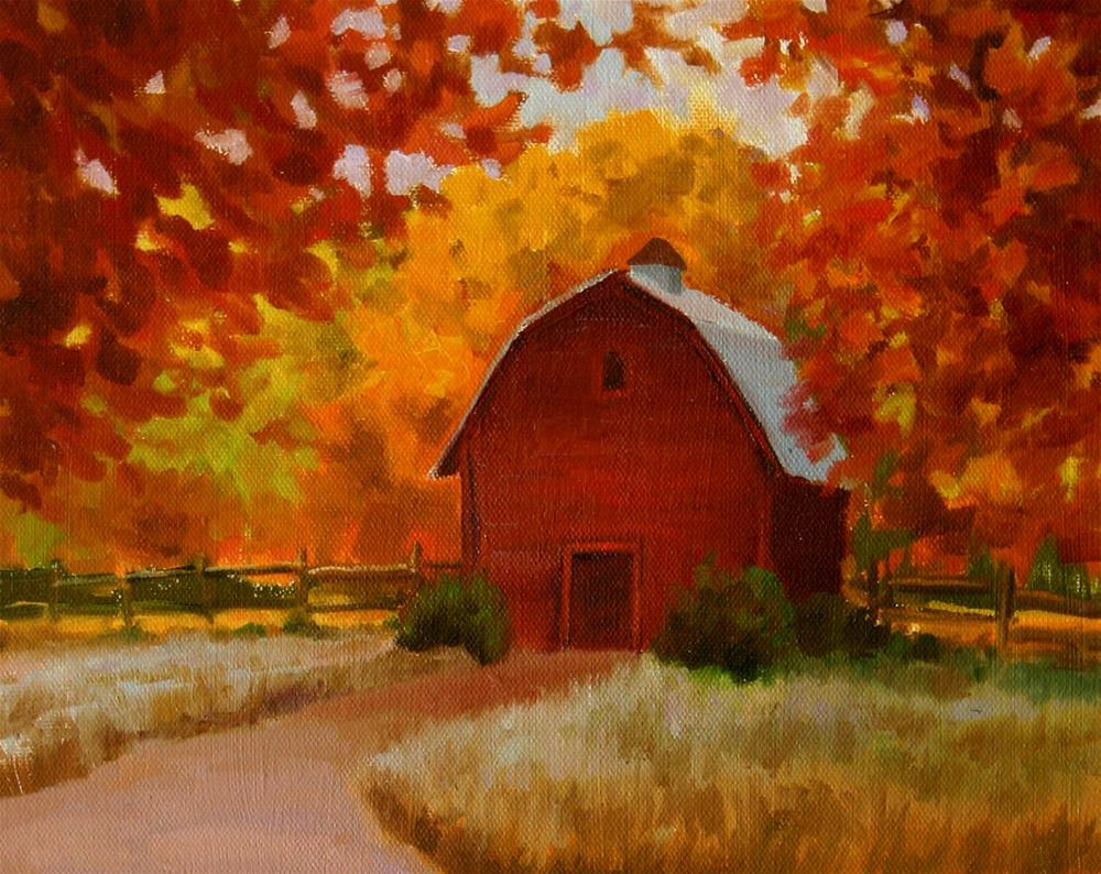 """Barn in Fall"" original fine art by K.R. McCain"