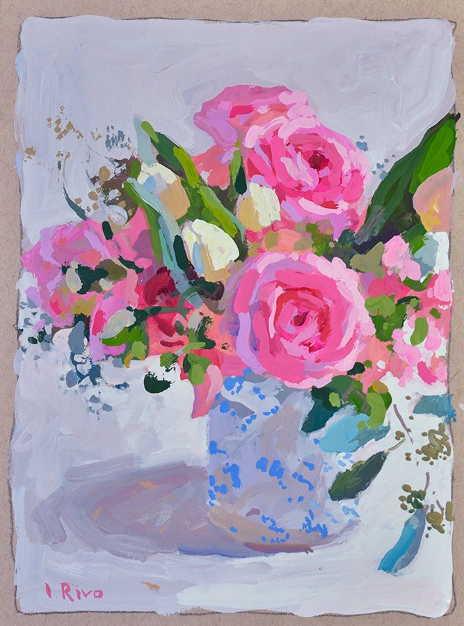 """""""Still life with roses and small tulips"""" original fine art by Lena  Rivo"""