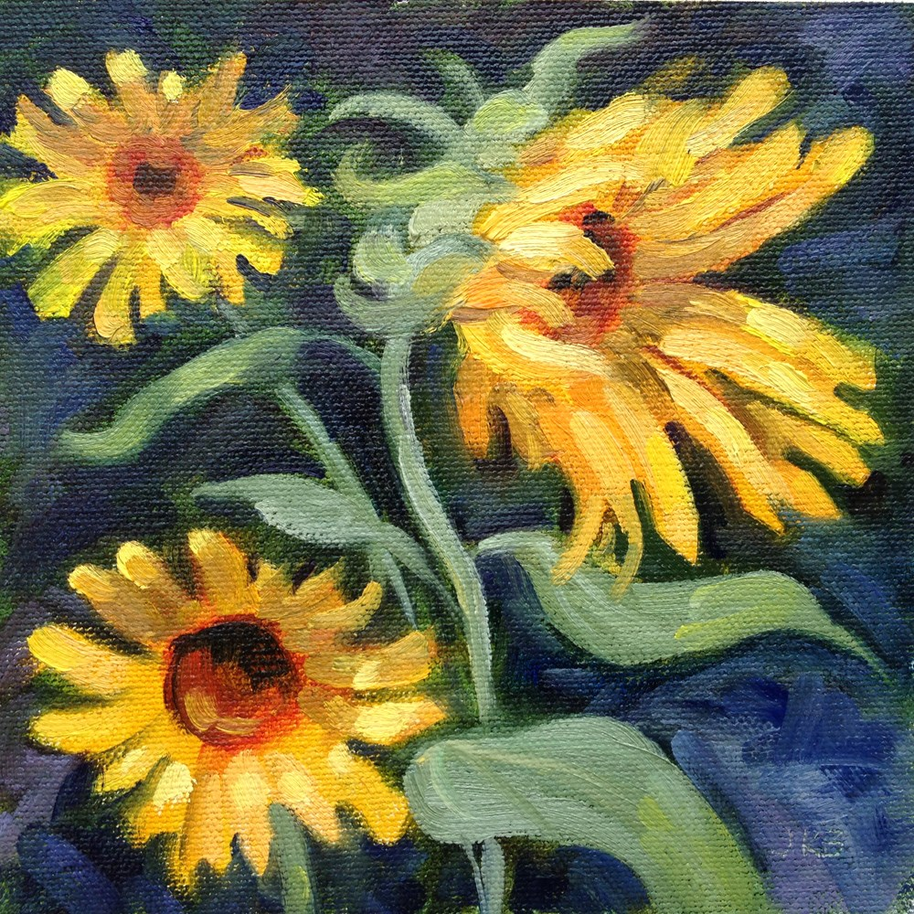 """Sunflower Shower"" original fine art by Jeanne Bruneau"
