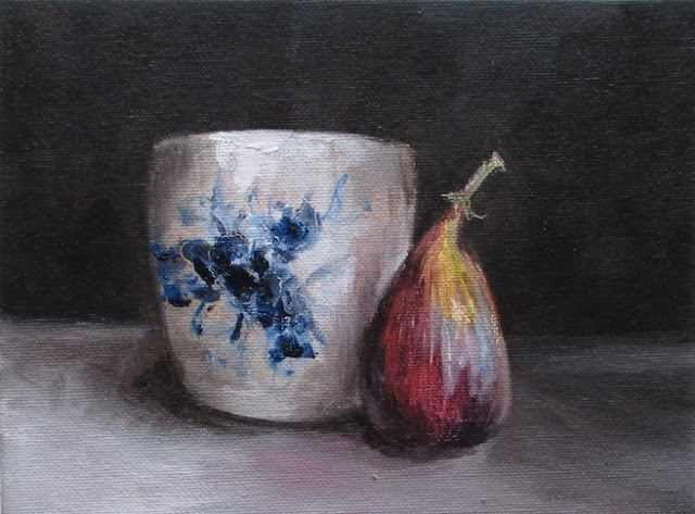 """""""Daily painting #723 Porcelain and a fig"""" original fine art by Heidi Shedlock"""