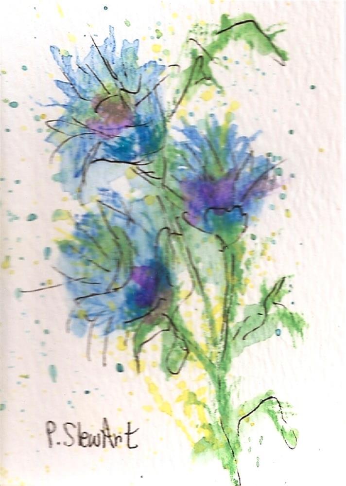 """ACEO Thistles Soft colors, Loose Watercolor, Original Art, OOAK, WC & Pen"" original fine art by Penny Lee StewArt"