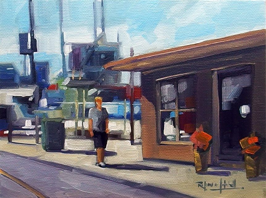 """No 842 Off to the Bait Shop"" original fine art by Robin J Mitchell"
