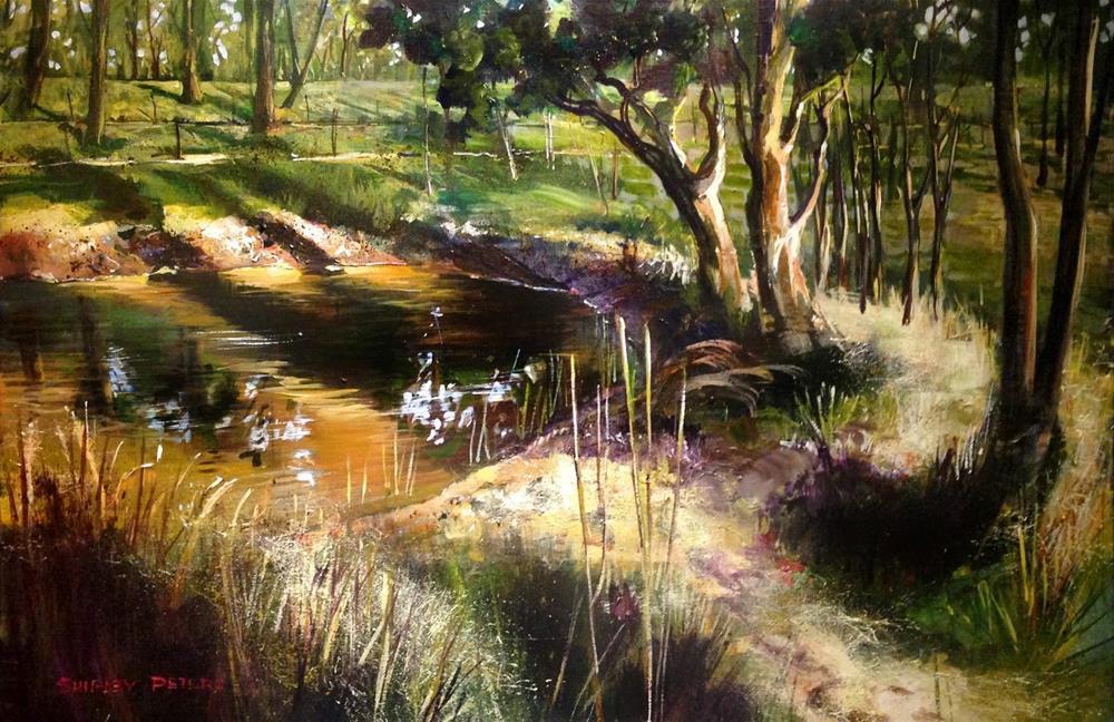 """Backyard Dam at Mulgoa"" original fine art by Shirley Peters"