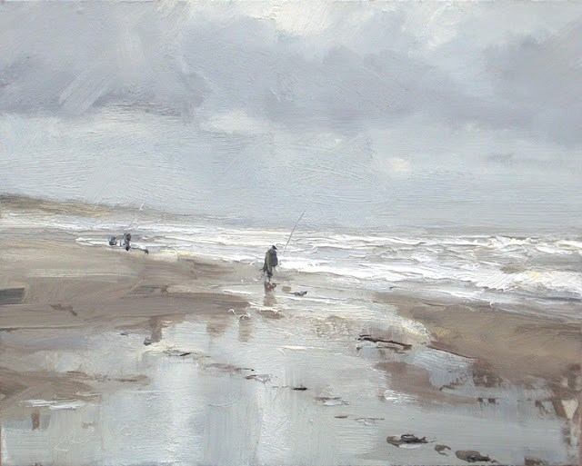 """Seascape winter # 12 Beautiful grey day and fisherman - zeegezicht"" original fine art by Roos Schuring"