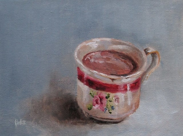 """Daily painting #715 Hot chocolate and rain"" original fine art by Heidi Shedlock"