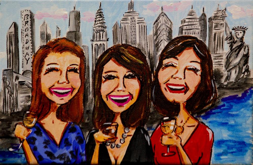 """Girlfriends in NY"" original fine art by Jennifer Koach"