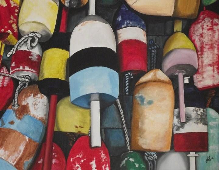 """Lobster buoys"" original fine art by Kim Selig"