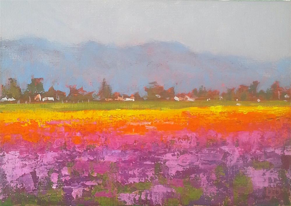 """Field Of Flowers"" original fine art by Leanne Owen"