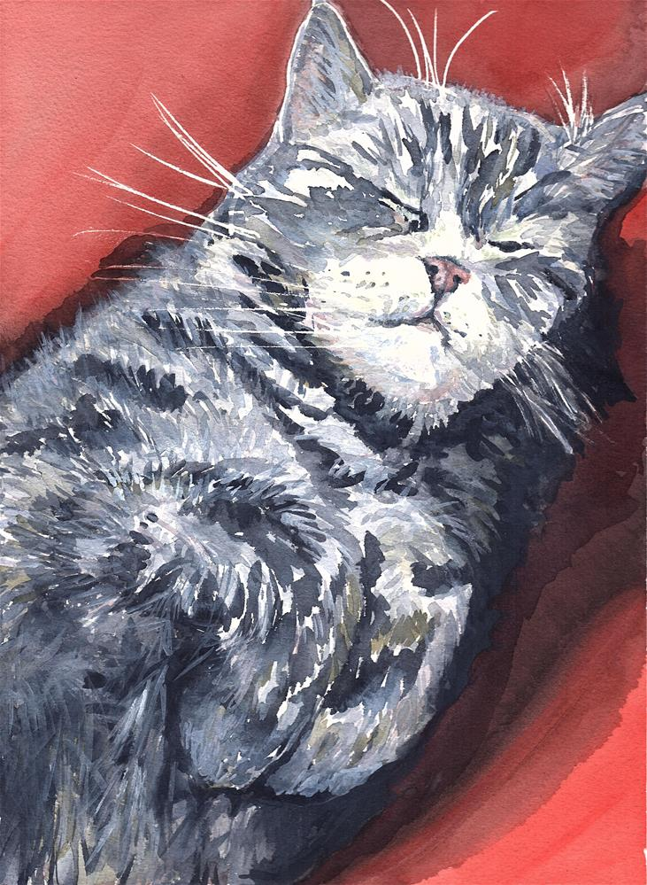 """Mister Napping"" original fine art by Laura Denning"