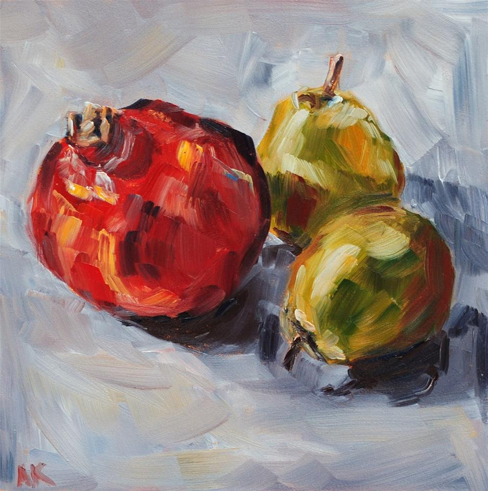 """Pomegranate and Pears"" original fine art by Alison Kolkebeck"