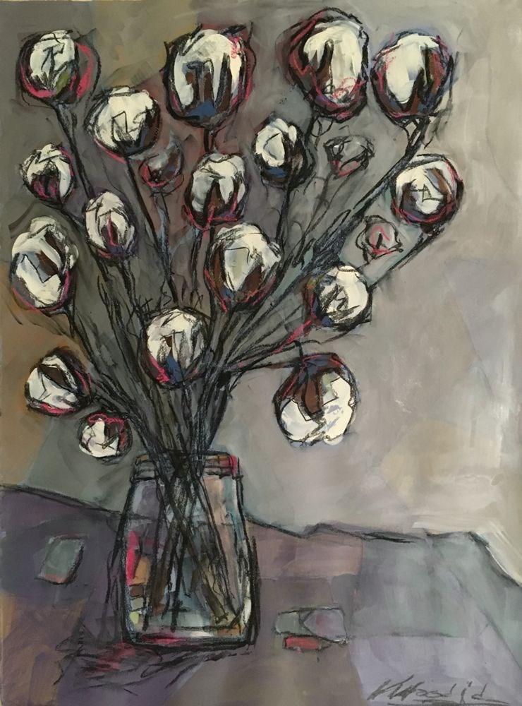 """cotton blooms 1"" original fine art by Vicki Wood"