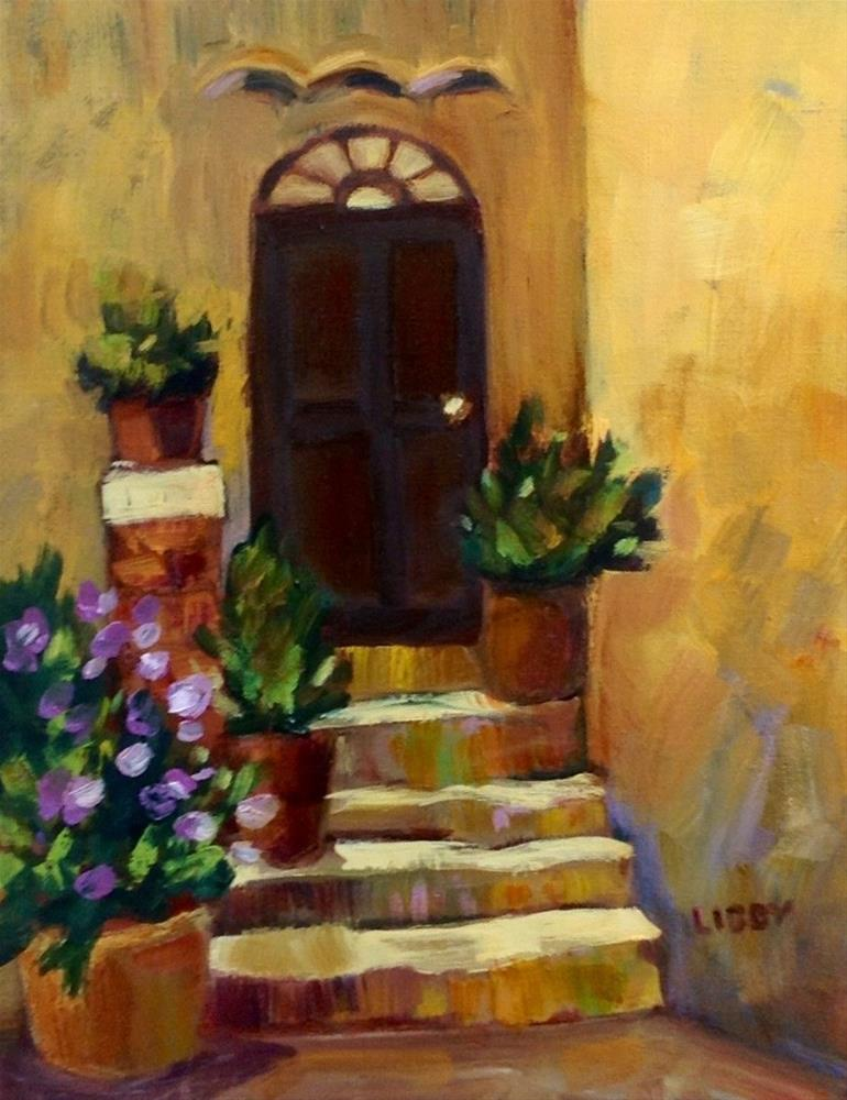 """Purple at the door"" original fine art by Libby Anderson"