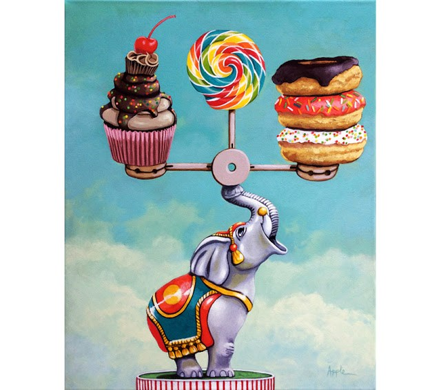"""A Well Balanced Diet - whimsical still life painting desserts and antique toy elephant"" original fine art by Linda Apple"