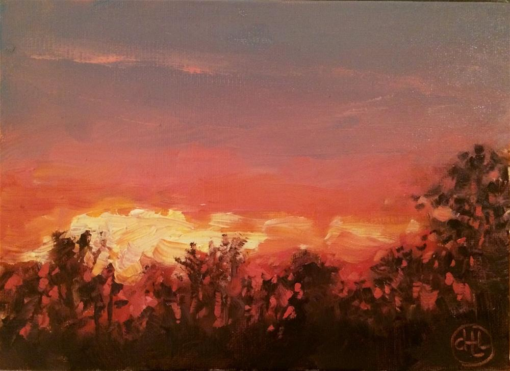 """red sky in morning"" original fine art by Dottie  T  Leatherwood"