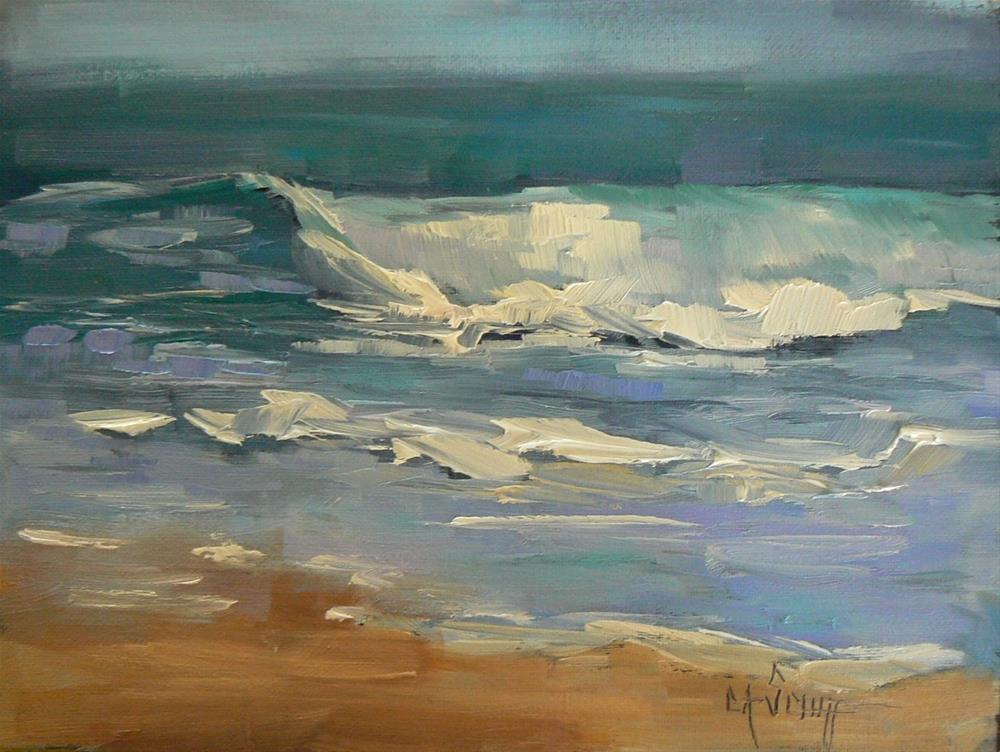 """Small Seascape, Tropical Waters 6x8 Oil"" original fine art by Carol Schiff"