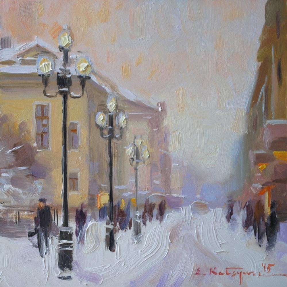 """City Snow"" original fine art by Elena Katsyura"