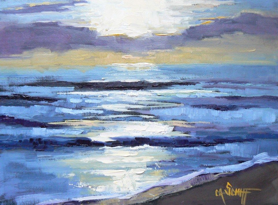 """Small Seascape, Sunrise, 6x8 Oil"" original fine art by Carol Schiff"