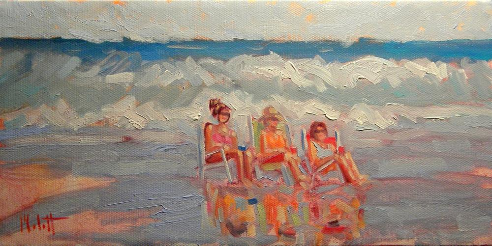 Happy Hour Girlfriends Beach 6x12 Contemporary Art Impressionism Oil Painting original fine art by Heidi Malott