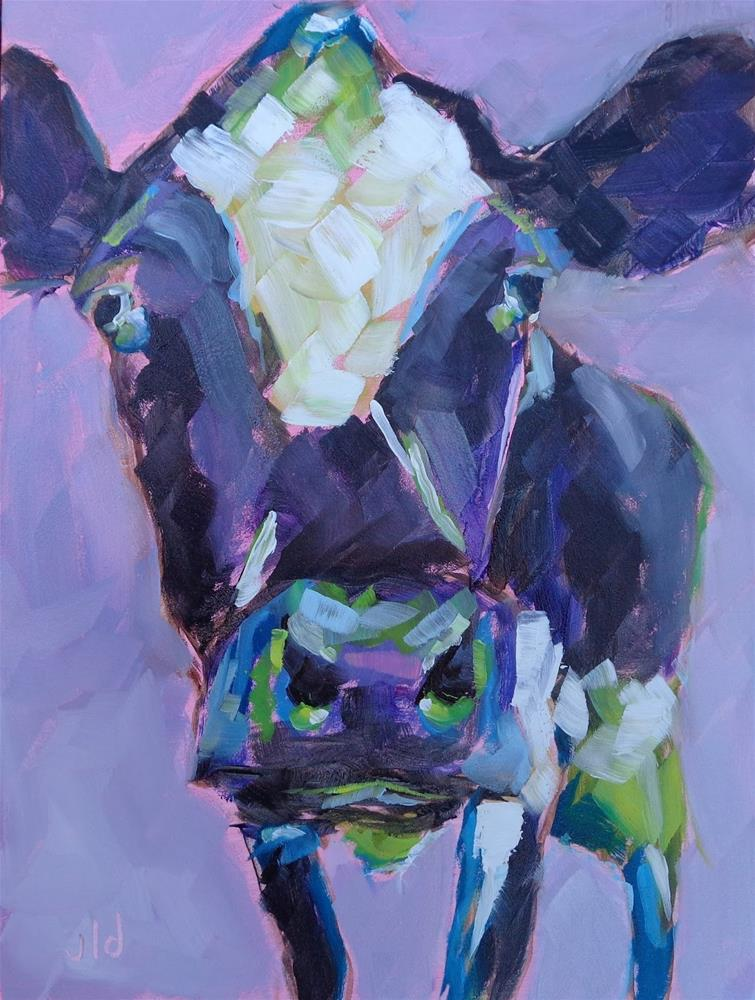 """Cow 53 Purple haze"" original fine art by Jean Delaney"