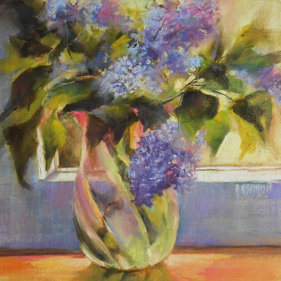 """Lilacs on the Sill"" original fine art by A.K. Simon"