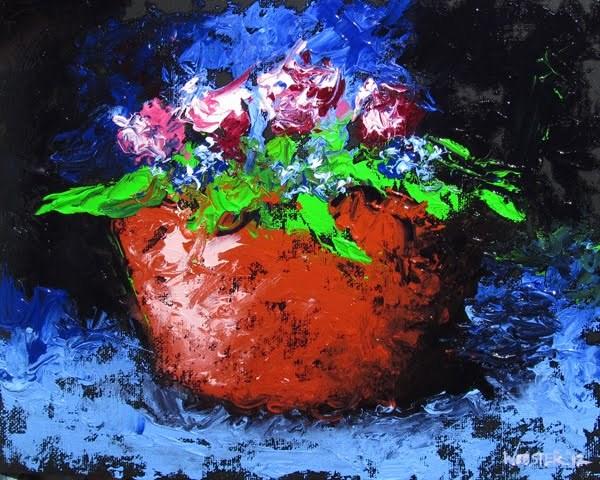 """""""Mark Webster - Palette Knife Flowers Still Life Oil Painting"""" original fine art by Mark Webster"""