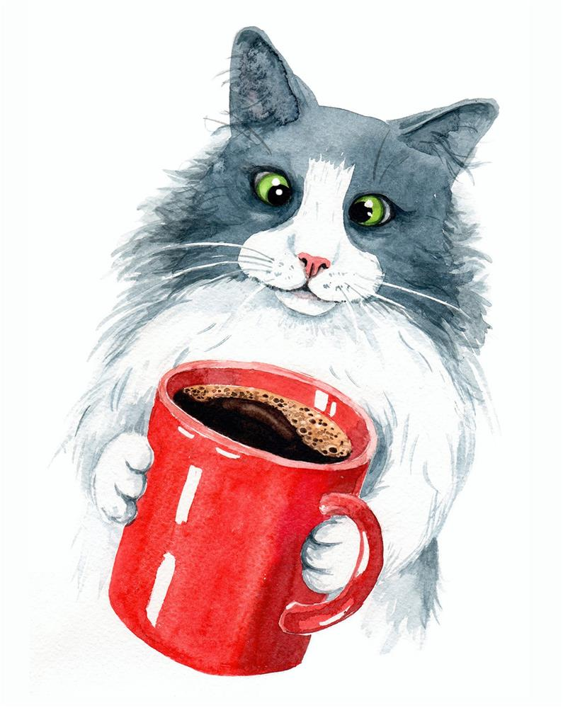 """Cat with Coffee Cup"" original fine art by Olga Beliaeva"