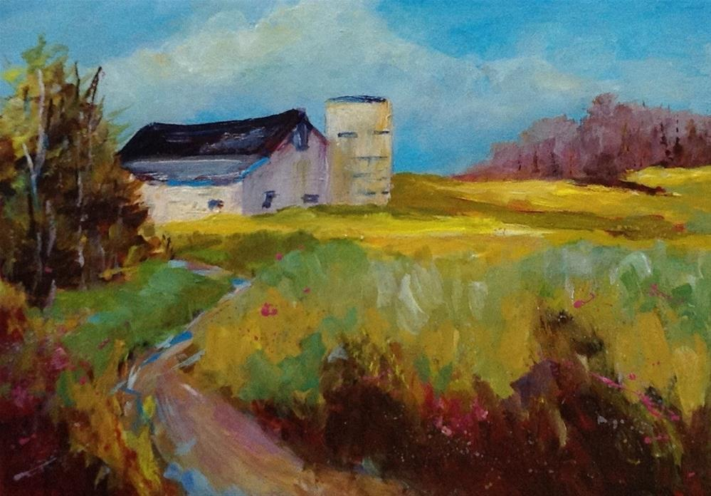 """Original Indiana barn landscape country rural artbpaintinf"" original fine art by Alice Harpel"
