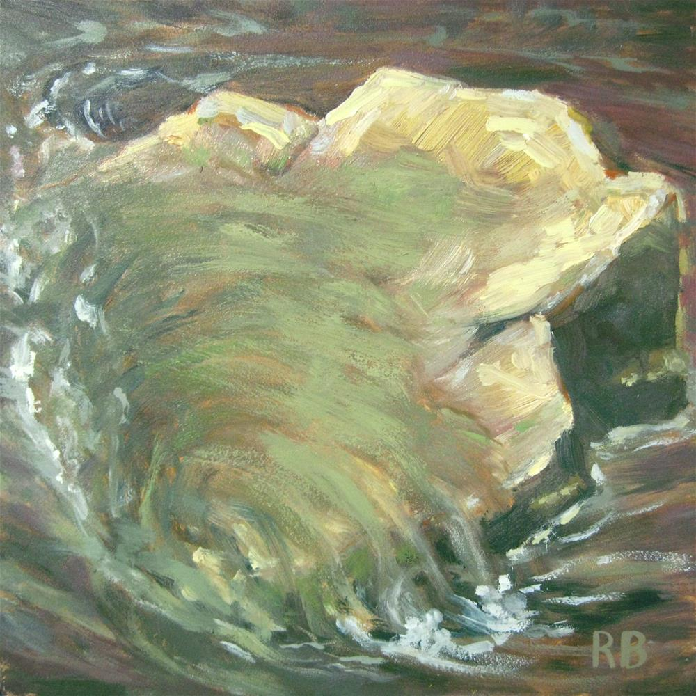 """Rock in the Stream"" original fine art by Robie Benve"