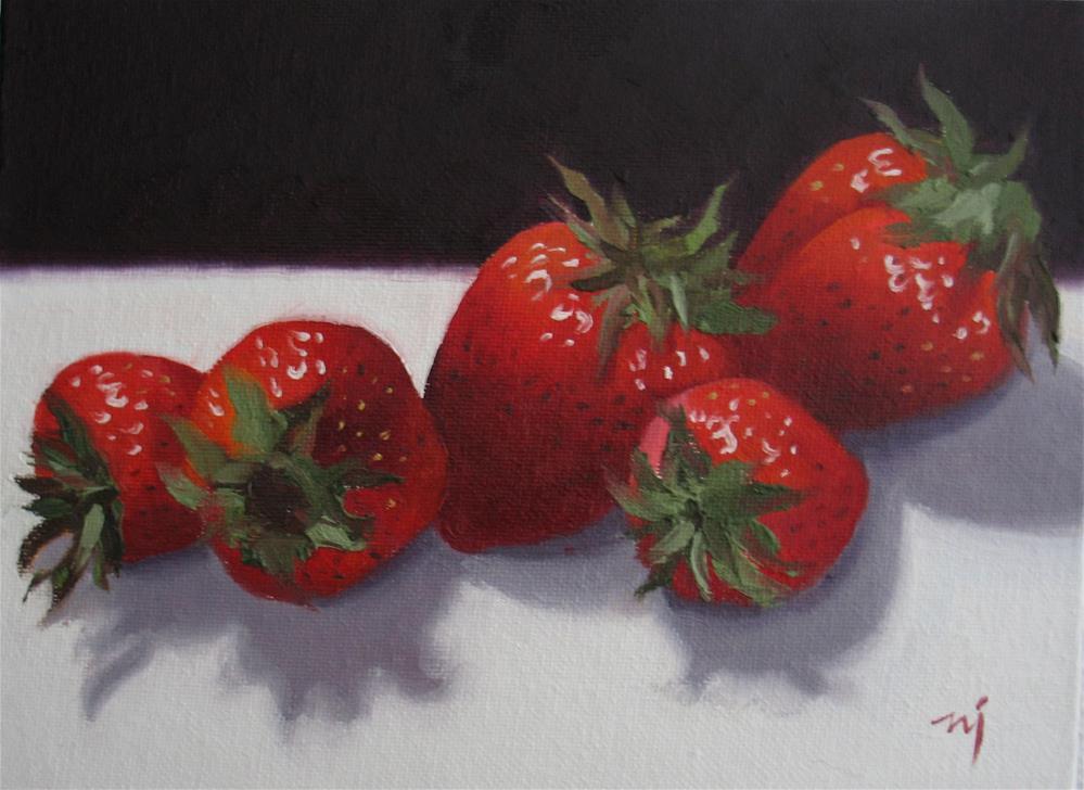 """Black and White Strawberries"" original fine art by Nel Jansen"