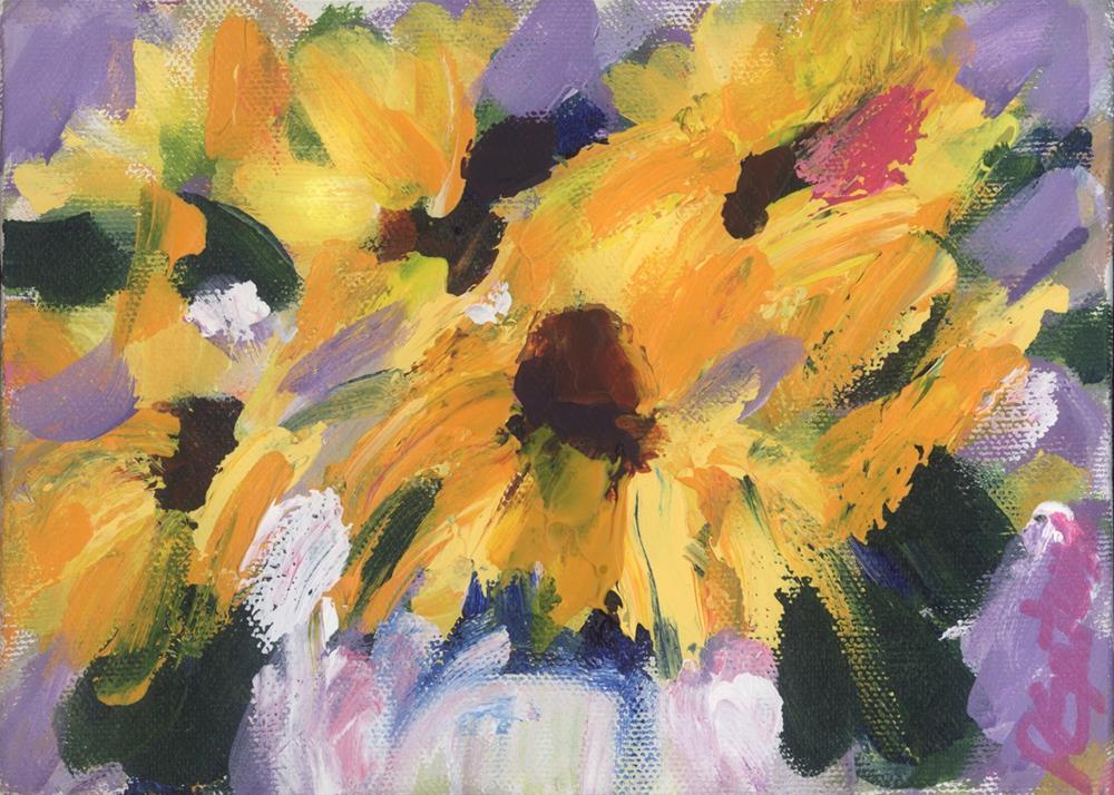 """Mini Sunflowers"" original fine art by Pamela Gatens"
