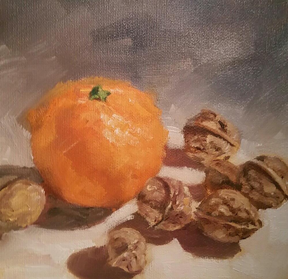 """""""Mandarine mit Nüssen"""" original fine art by Sabine Hüning"""