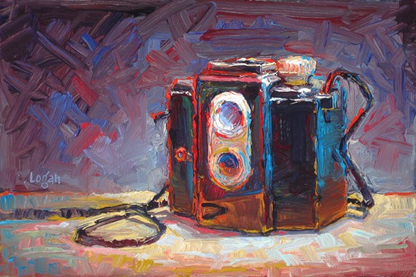 """Ansco Panda Camera"" original fine art by Raymond Logan"