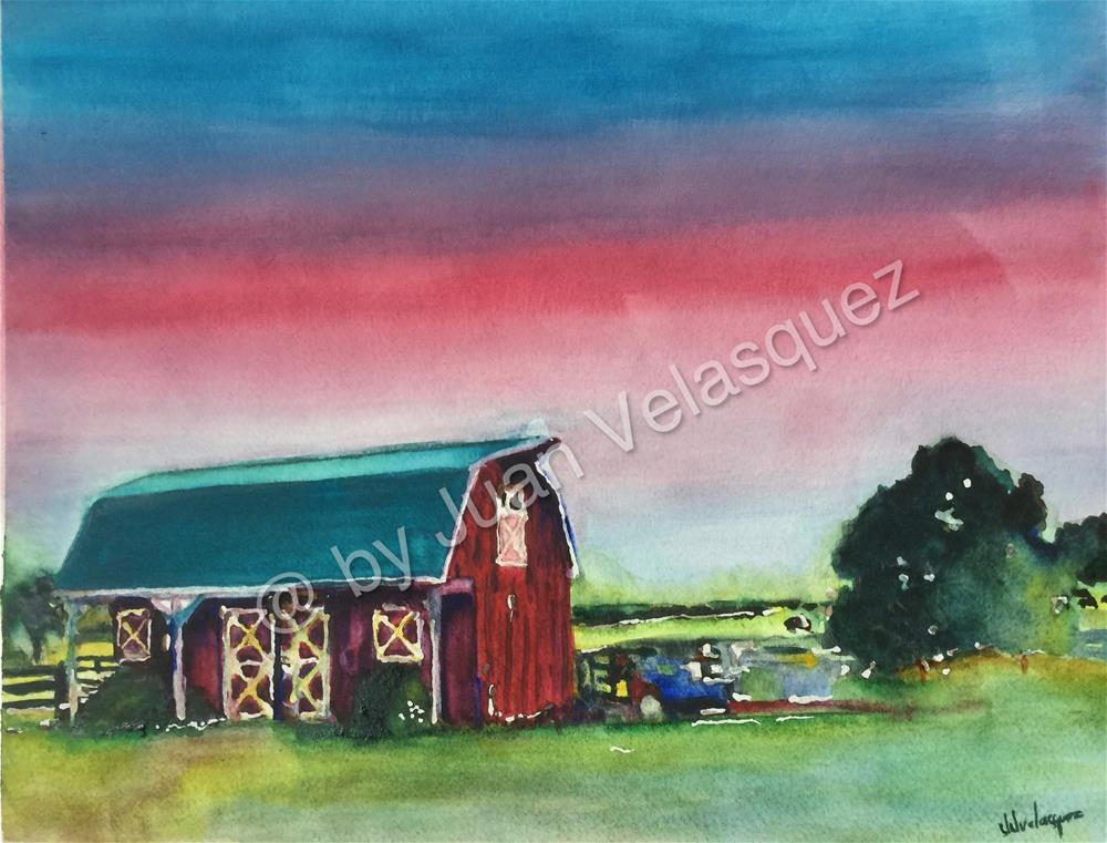 """The Barn"" original fine art by Juan Velasquez"
