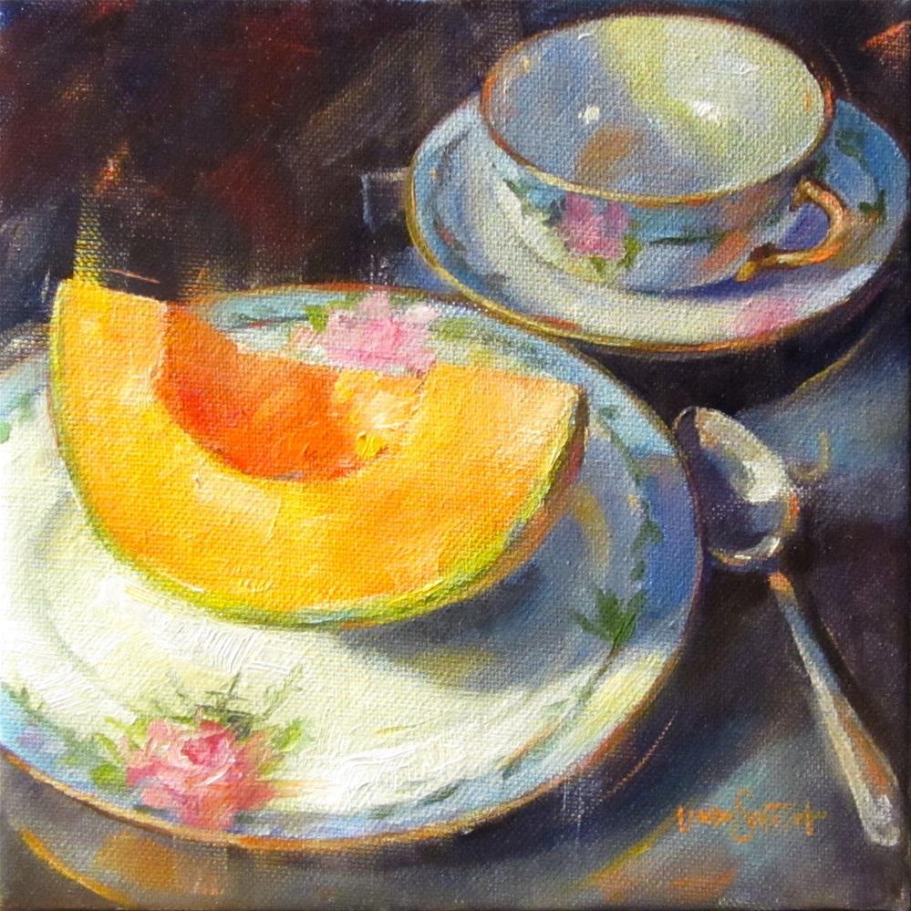 """Cantaloupe on Fruit Plate"" original fine art by Linda K Smith"