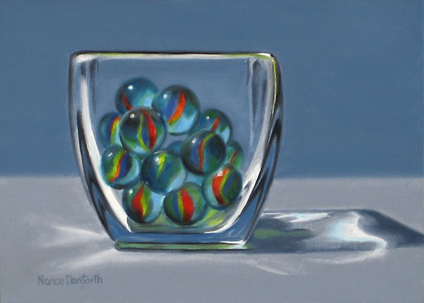 """Blue Marbles in Glass Vase"" original fine art by Nance Danforth"
