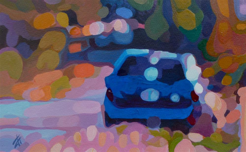 """Blue Car"" original fine art by Mark Allison"