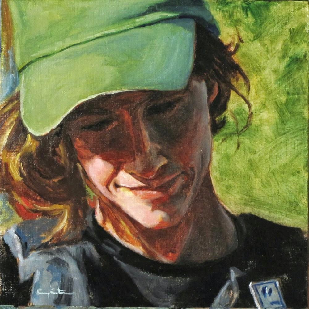 """""""La gorra verde"""" original fine art by Eduardo Carpintero"""