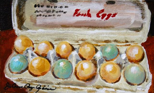 """""""Future omelettes"""" original fine art by JoAnne Perez Robinson"""