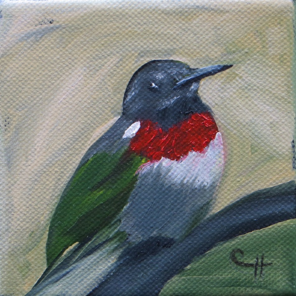 """Perched Hummingbird"" original fine art by Claire Henning"