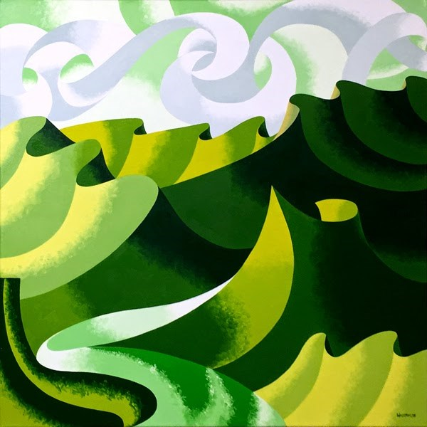 """Mark Adam Webster - Abstract Geometric Grand Canyon Oil Painting in Green"" original fine art by Mark Webster"