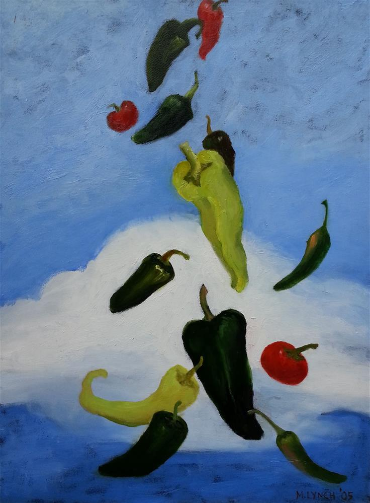 """Flying Chilies"" original fine art by Marie Lynch"