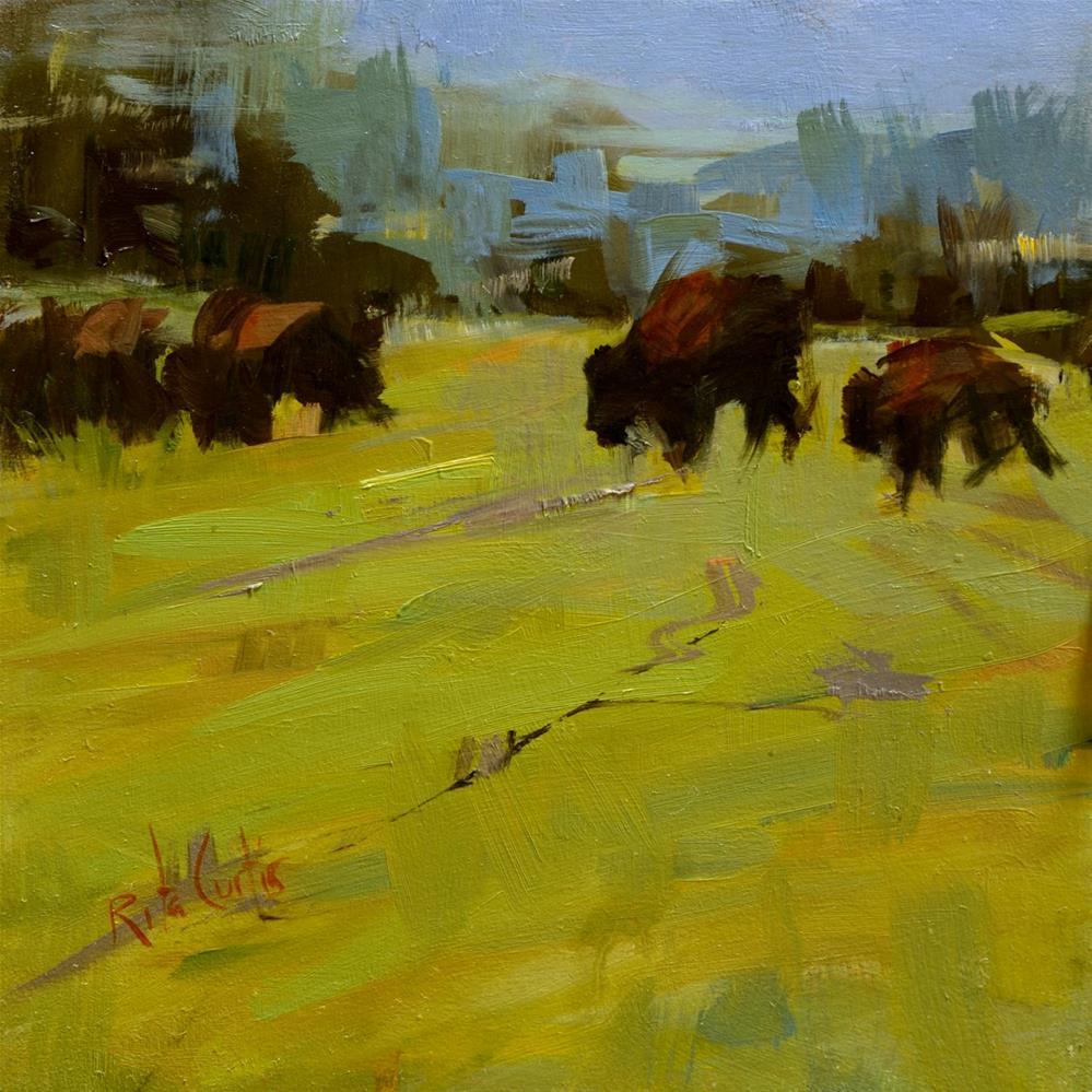 """The Buffalo Farm"" original fine art by Rita Curtis"