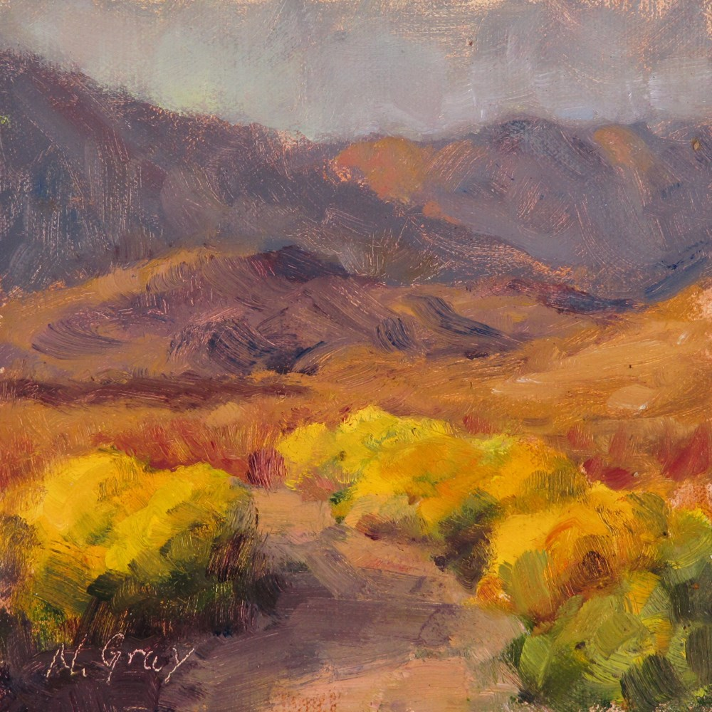 """Rabbitbrush in the Desert"" original fine art by Naomi Gray"