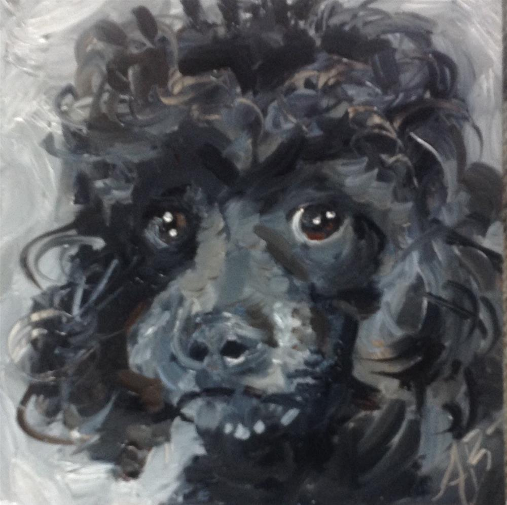 """Black Poodle"" original fine art by Annette Balesteri"