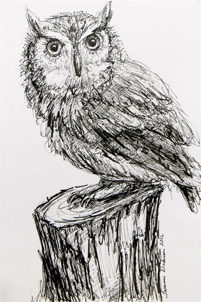 """""""Screech Owl in Ink"""" original fine art by Tammie Dickerson"""