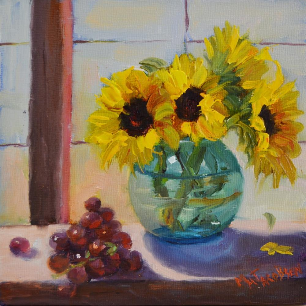"""Window Seat, 6x6, oil, 6 inch squared show, grapes, sunflowers, still life"" original fine art by Maryanne Jacobsen"
