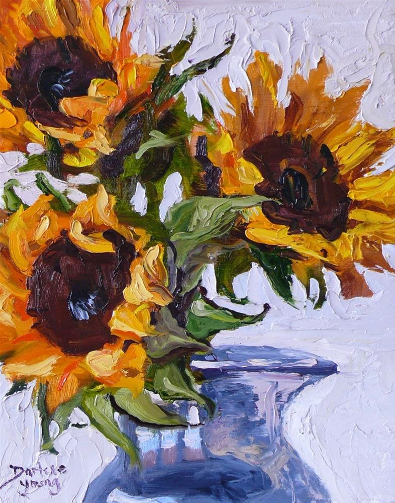 """731 Sunflowers Knife Painting"" original fine art by Darlene Young"