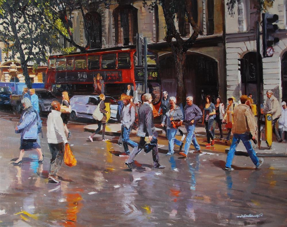 """After the Rain, London Streets"" original fine art by Adebanji Alade"