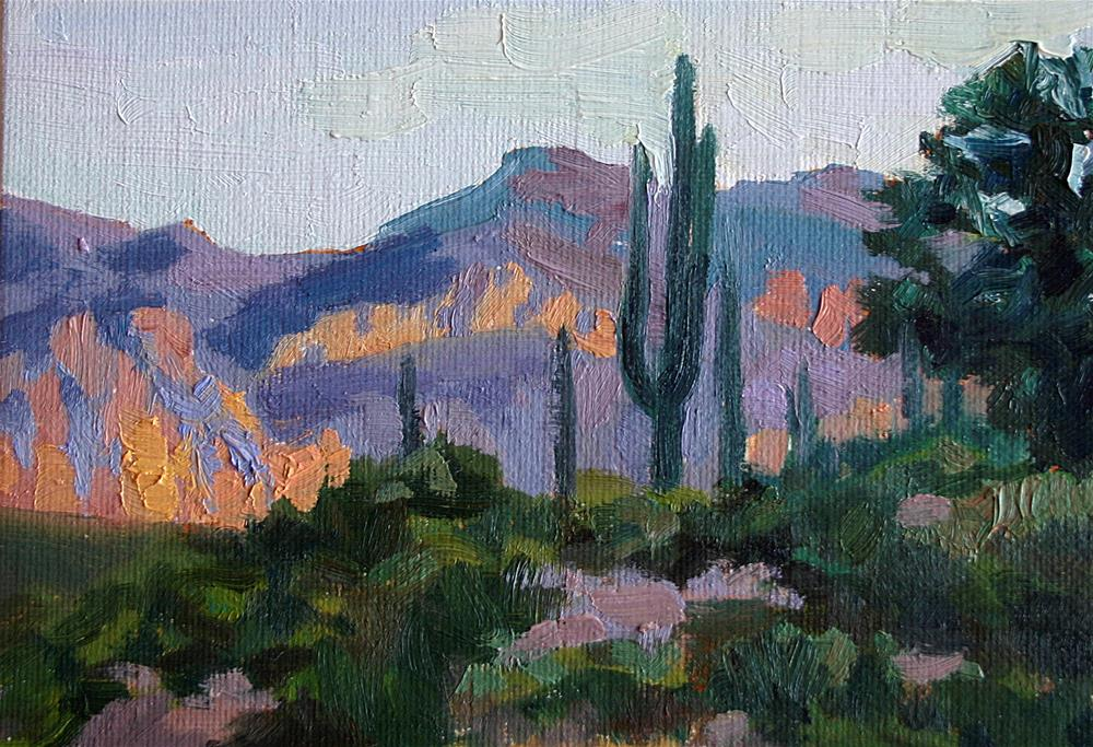 """Evening Light and Saguaros"" original fine art by K.R. McCain"