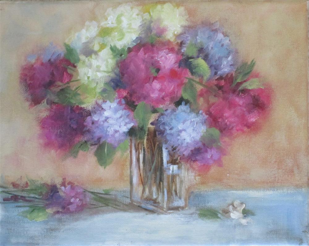 """Hydrangeas in Glass"" original fine art by Barbara Wagner"